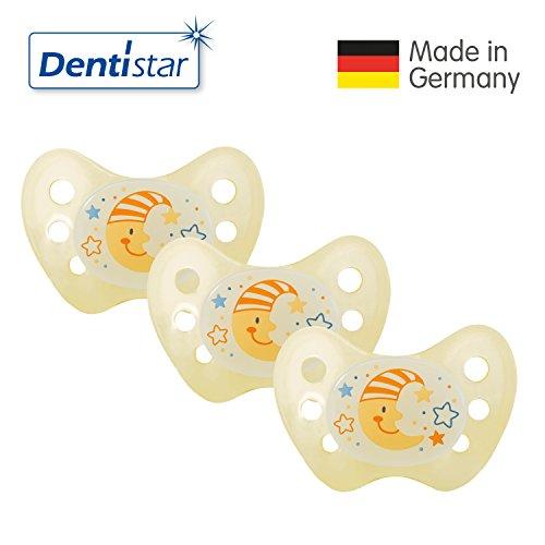 Preisvergleich Produktbild Dentistar® Night Silikon-Schnuller - Größe 1,von Geburt an, 0-6 Monate – Nacht-Leuchtschnuller, Nuckel leuchtend, für neugeborene Babys, Mond gelb