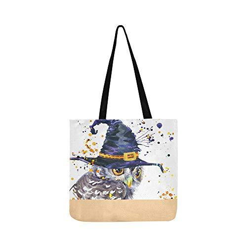Halloween Eule Hexe Hut Leinwand Tote Handtasche Umhängetasche Crossbody Taschen Geldbörsen Für Männer Und Frauen Einkaufstasche