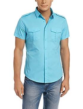 oodji Ultra Uomo Camicia con Maniche Corte e Tasche su Petto