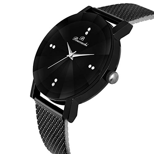 Buccachi Analogue Black Round Dial Watch for Men's (B-G5045-BK-BK)