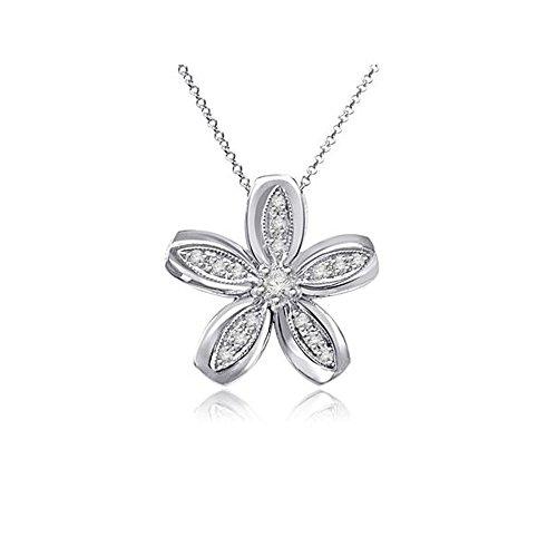 0.09ct H/SI1 Diamant Anhänger für Damen mit runden Brillantschliff diamanten in 18kt (750) Weißgold ohne Halsband (Gold Charm White Cross 10k)