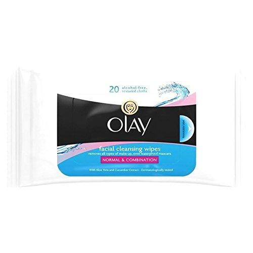 Essentials Olay Nettoyage Lingettes Humides Peau / Sec / Combinaison Normale 20 Par Paquet (Lot de 2)