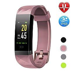 Letsfit Fitness Armband Farbbildschirm Fitness Trackermit Pulsmesser IP68 Wasserdicht Bluetooth Aktivitätstracker Schrittzähler Uhr mit Alarm/Kalorien/Schlafüberwachung für Herren Damen MEHRWEG