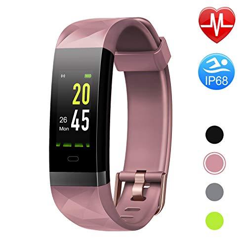 Letsfit Fitness Armband Farbbildschirm Fitness Trackermit Pulsmesser IP68 Wasserdicht Bluetooth Aktivitätstracker Schrittzähler Uhr mit Alarm/Kalorien/Schlafüberwachung für Herren Damen MEHRWEG - Fitness-bluetooth-uhr