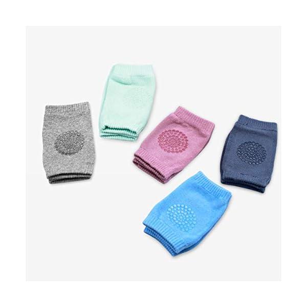 NATUCE 5 pares bebé gatear rodilleras antideslizantes,calentador de la pierna del bebé,protector de rodilla para bebé. 2