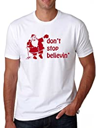 Santa Don't Stop Believing T-Shirt Vintage Shirt for the Holidays 80s Rock Song