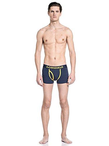 Lonsdale Herren Boxershort Berrow - Doppelpack Navy/Yellow
