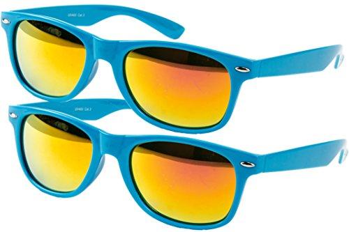Ciffre 2 er Set EL-Sunprotect® Sonnenbrille Nerdbrille Brille Nerd Feuer Verspiegelt Türkis