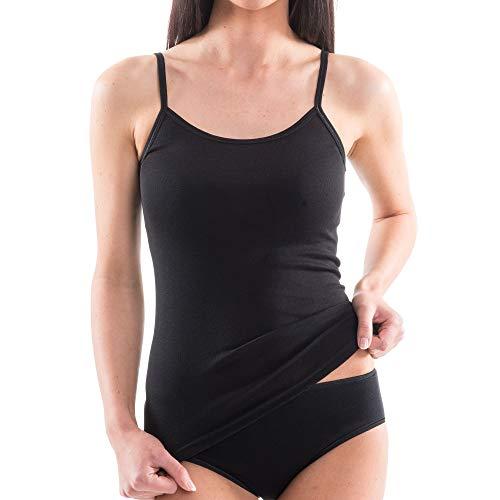 HERMKO 1560 Damen Träger Top, Unterhemd mit Spaghettiträger, Farbe:schwarz, Größe:40/42 (M)