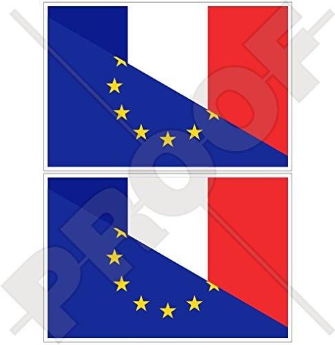 europe-france Drapeau, eu-fr européenne union-french 10,2 cm (100 mm) en vinyle Bumper Stickers, Stickers x2