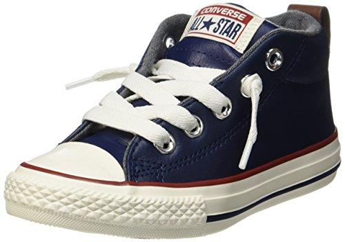 Converse Unisex-Kinder CTAS Street Mid Midnight Navy/Terra Red Hohe Sneaker, Blau (Midnight Navy/Terra Red/Egret), 31 EU (Jungen Converse Schuhe)