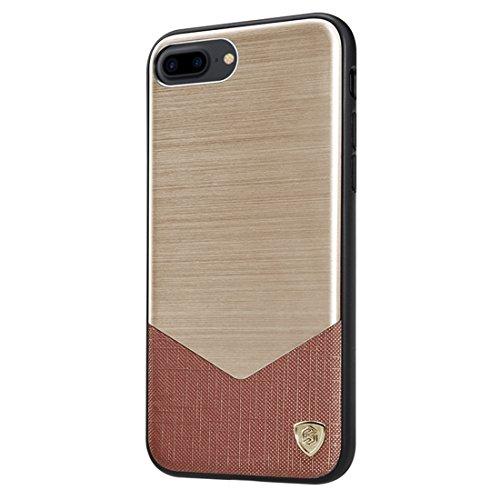 Hülle für iPhone 7 plus , Schutzhülle Für iPhone 7 Plus Business Style gebürstete Textur Metall + Leder Oberfläche PC Schutzhülle Rückseite mit weichem TPU Rahmen ,hülle für iPhone 7 plus , case for i Gold