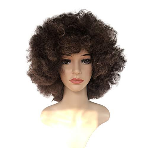 Promotion! Perruques Frisées Brun Synthétique Perruque Afro Femme Afro Brésiliens Américain Naturel Madame