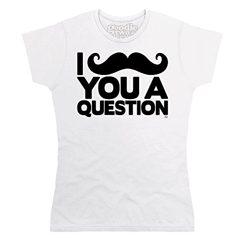 Goodie Two Sleeves Moustache T-shirt, Donna, Bianco, XL