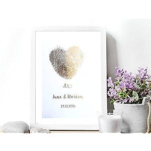 Poster Gold, Silber o. Kupfer Hochzeitsgeschenk personalisiert