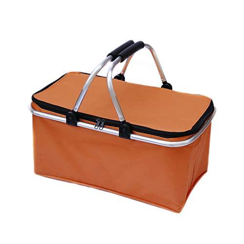 Enfriador para Acampar al Aire Libre Cestas de Picnic aisladas 600D Oxford/Marco de Aluminio Manijas Cestas de Compras Plegables Bolsas de Picnic (Color : Orange, tamaño : 18.5 * 10.63 * 9.05inchs)