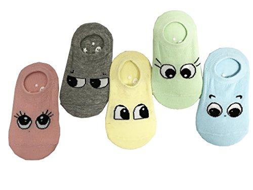 Jt-amigo 5 paia di calzini antiscivolo invisibili bambini e ragazzi 1-3 anni