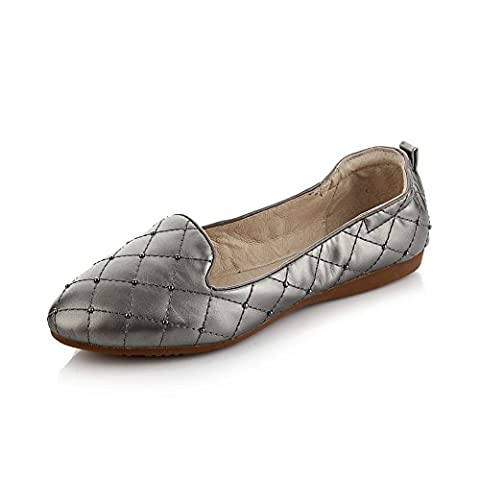 1TO9 Girls Rivet Solid Round Toe Gray Patent Leather Pumps Shoes 4 UK