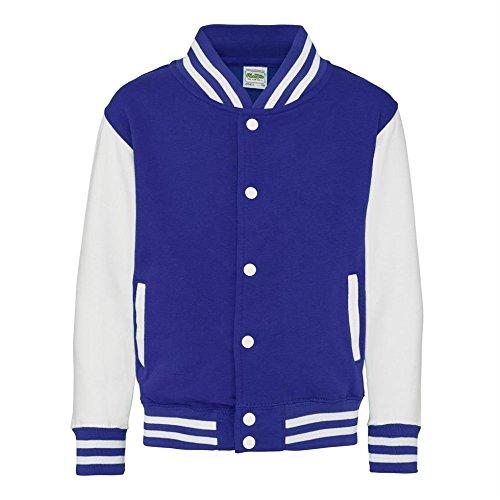 Jacke Varsity (9-11 Jahre) (Königsblau/Weiß) (Varsity Jacken Kinder)
