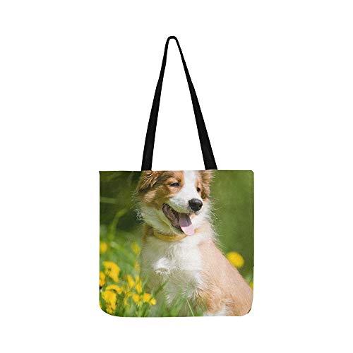 (Border Collie Puppy Sitting Löwenzahn Canvas Tote Handtasche Schultertasche Crossbody Taschen Geldbörsen für Männer und Frauen Einkaufstasche)