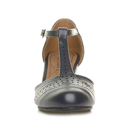 Damen Mitte Blockabsatz T-Riemen Ausgeschnitten Brogues Pumps Sandalen Größe 7 40 - 6