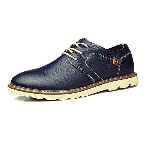 Zicac -chaussure de ville à lacet homme en cuir faux casuel esprit british Bleu