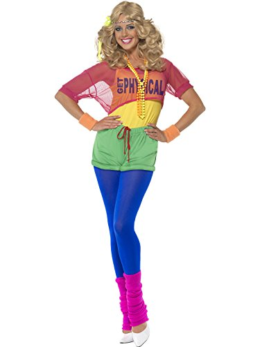 Smiffy's Adult Women's Let's Get Physical Girl Costume, Leotard, Crop Top, Shorts and Headband, Back to the 80's, Serious Fun, 39465 L (UK: 16-18) (Let's Get Physical Kostüm)