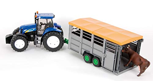bruder Traktor New Holland T8040 + Viehanhänger + 1 Tierfigur Kuh