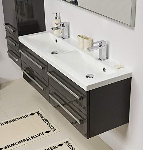 Quentis Doppelwaschplatz Genua 120, Waschplatzset 3-teilig, anthrazit glänzend, 4 Schubladen - 3