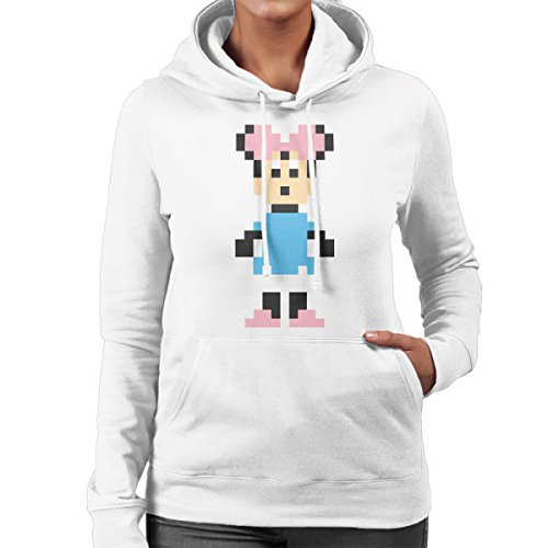 Minnie Mouse Pixel Character Women's Hooded Sweatshirt White