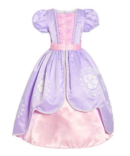 Und Muster Tanz Kostüm Borten - ReliBeauty Mädchen Kleider Prinzessin Sofia Kostüme Rundausschnitt Kurzarm Falten Borte Blumen Rock, Lila, 120(Etikett 120)