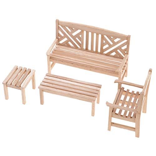 P Prettyia Miniatur Möbel für 1/12 Puppenhaus Wohnzimmer oder Garten Dekoration - Gartenbank+Stuhl+Tisch - Schlafzimmer Schrank Sammlung