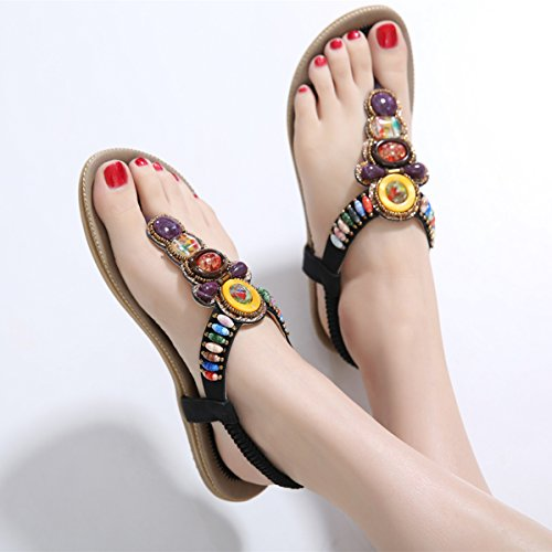 9d9ad4615bb5a Women s Sandals Bohemia Clip Toe Post Summer Beach T-Strap Rhinestone Flat  Ankle Strap Shoes