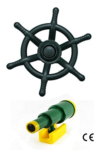 HIKS Products HIKS® Green Kids Climbing Frame Pirate Accessory Bundle Telescope amp; Pirate Wheel also Suitable for Tree Houses, Childrens Play Houses and Dens