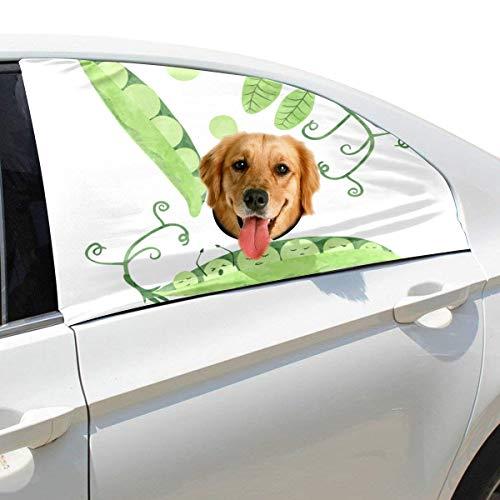 Plsdx Erbse Gemüse Grün Haustier Hund Sicherheit Autoteil Fahrzeug Auto Fenster Zaun Vorhang Barrieren Protector Für Baby Kind Sonnenschutz Abdeckung Universal Fit SUV (Grüne Bohnen W)
