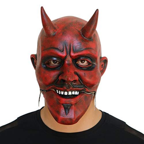 LBAFS Halloween Grimasse Maske Cos Mouth Bewegt Red Devils Head Cover Lustige Maskerade Makeup Requisiten (Halloween Devil Makeup Red)
