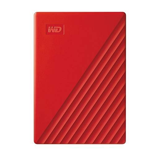 WD My Passport externe Festplatte 4 TB (mobiler Speicher, schlankes Design, WD Discovery Software, automatische Backups, Passwortschutz) rot