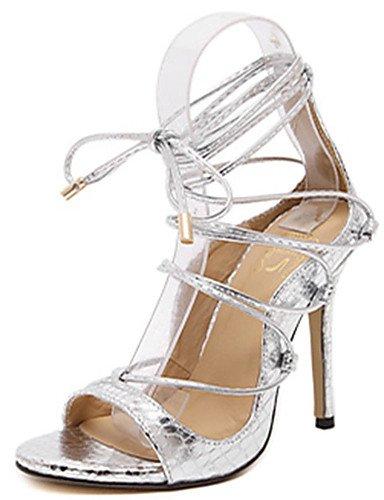 WSS 2016 Chaussures Femme-Décontracté-Noir / Argent / Or-Talon Aiguille-Talons-Talons-Polyuréthane silver-us6.5-7 / eu37 / uk4.5-5 / cn37