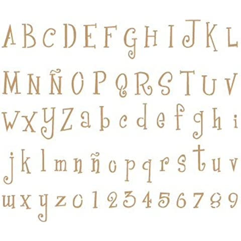 Stencil Deco Abecedario 011. Medidas aproximadas:Tamaño del stencil 20 x 30(cm) Altura M mayúscula 1,7 x 2,1(cm) Altura M minúscula 1,2 x