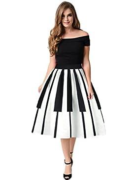 Faldas Mujer, Tefamore Forme a piano las llaves falda digital de la impresión falda fina del soplo de la cintura...