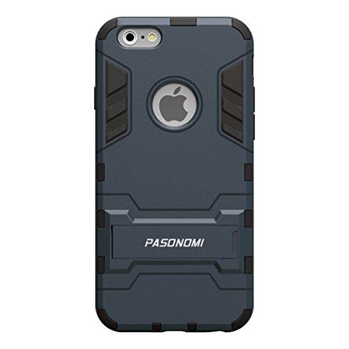 iPhone 6S Hülle, Pasonomi® [Outdoor] [Heavy Duty] [Dual Layer] Ultra-dünne Schutzhülle Case Cover mit Ständer für Apple iPhone 6 (2014) / iPhone 6S (2015) (Kickstand-Schwarz) Kickstand-Schwarz