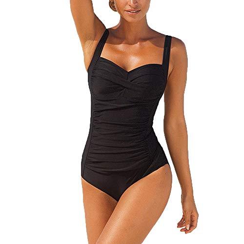 Aijiaye Badeanzug Damen Einteilige Bauchweg Frauen Badeanzüge Schwimmanzug Bademode Tankini Urlaub Badeanzüge Für Damen (XL, Schwarz)
