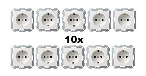 Preisvergleich Produktbild 10x GIRA (045303) Steckdose mit integriertem erhöhten Berührungsschutz Reinweiß glänzend
