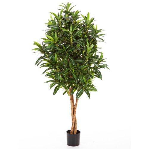 artplants – Künstlicher Longifolia Baum Avery, 1100 Blätter, grün, 105 cm – Kleiner Dekobaum/Sommer Kunstbaum