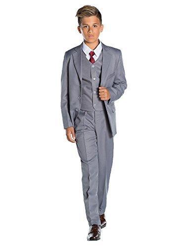Shiny Penny Jungen Anzug Grau grau (Jungen-größe 8 Jacke Anzug)