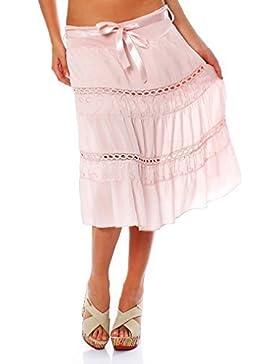 Falda de verano ZARMEXX Falda de algodón para mujer con cinturón de lazo Midi o Mini (Talla única, 36-40)