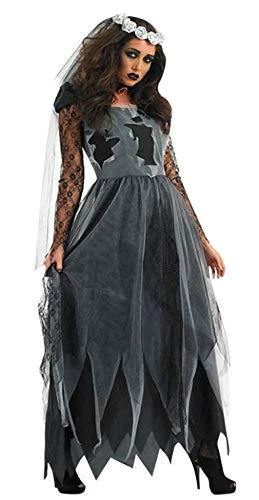 Cloud Kids Damen Halloween Vampir Braut Kleid Bride Kleid Friedhofsbraut Kostüm Vampire Uniformen Karneval Schwarz Brust - Child Bride Kostüm Halloween