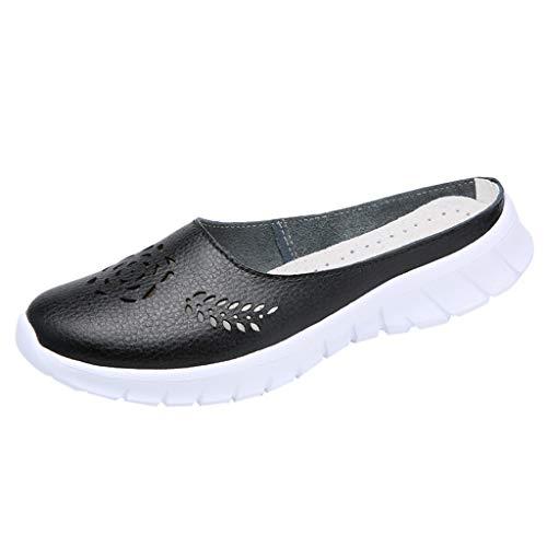 iHENGH Scarpe Sportive da Donna in Pelle Cava per Esterno. Scarpe da Tennis. Sneakers Traspiranti(Nero,42)