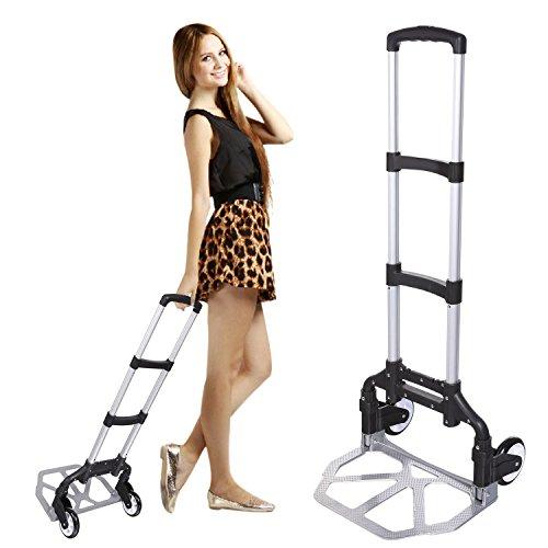 Coocheer Sackkarre Handwagen Treppensackkarre Stapelkarre mit 6 Räder bis 200 kg Tragkraft (Schwarz 2)