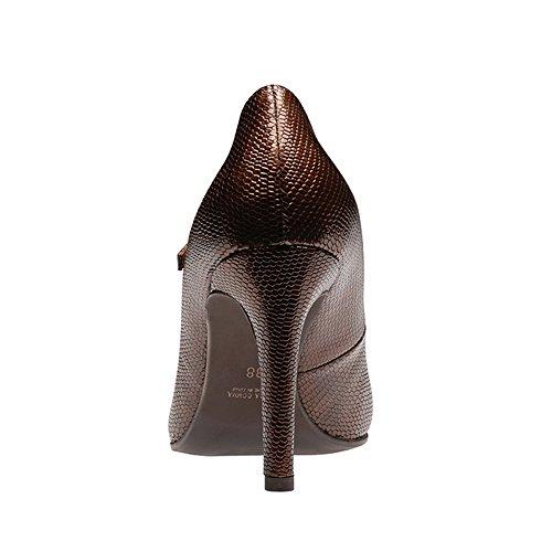 ILARIA Damen Pumps Geprägtes Leder Bronze